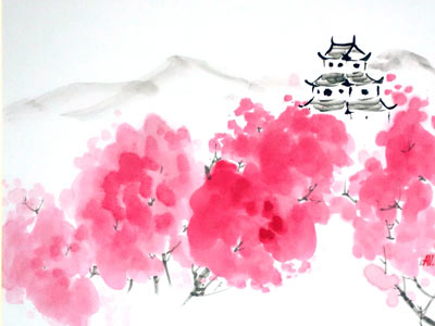 Sakura blooming in Japan - on shikishi board