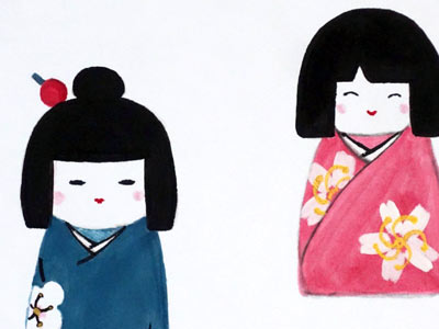 Kokeshi dolls - on shikishi board