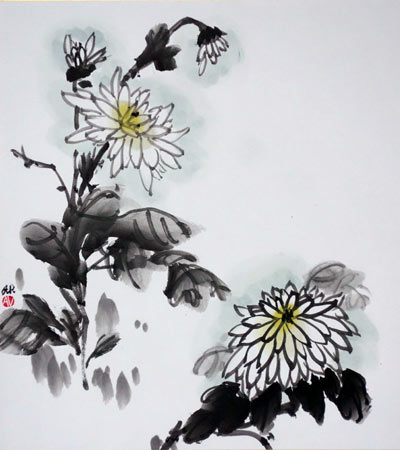 White Chrysanthemum - on shikishi board