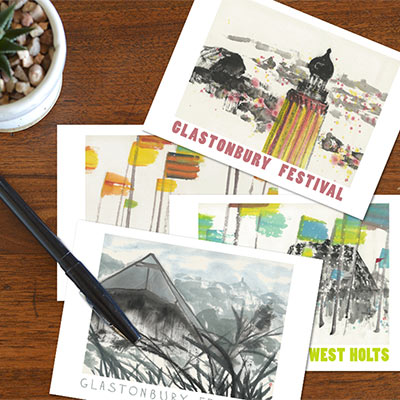 Glastonbury Festival Postcards - set of 4