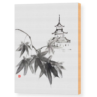 Japanese Shrine Through Maple Leaves - print on demand